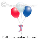 Balloons, red-wht-blue