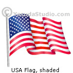 USA Flag, Shaded