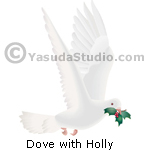 Dove with Holly Sprig